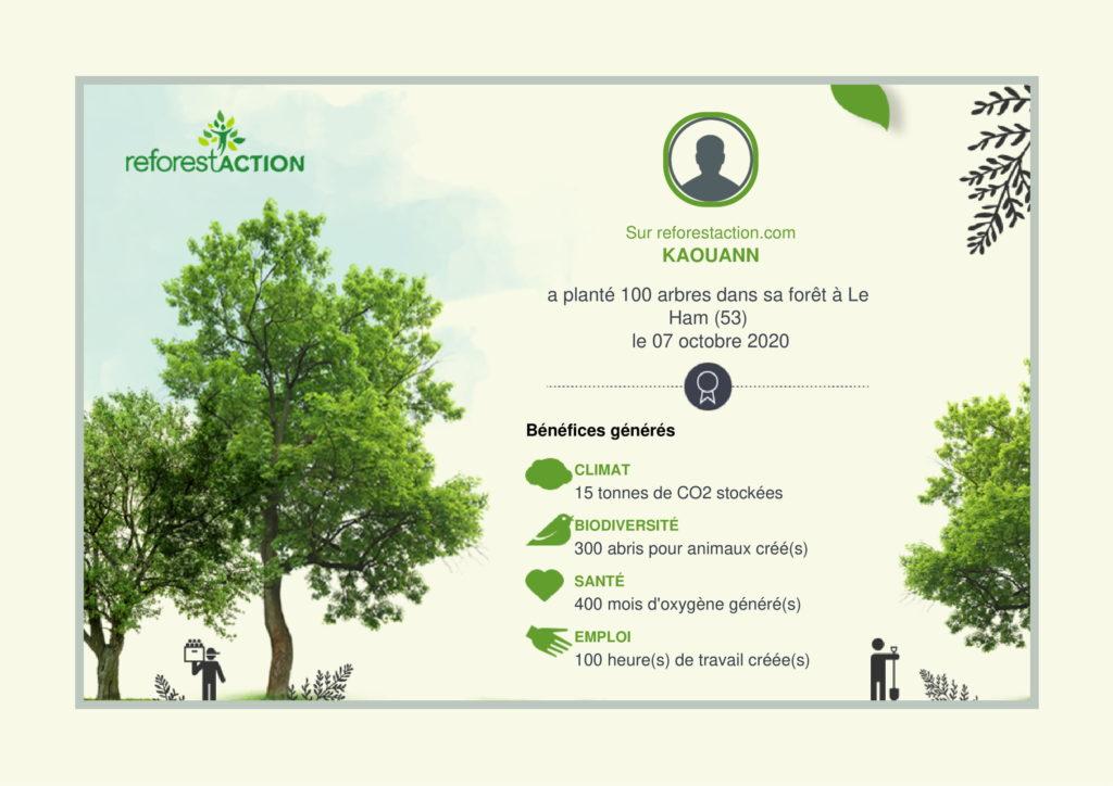 Certificat délivré par ReforestAction montrant l'engagement de Kaouann à travers la plantation de 100 arbres en France