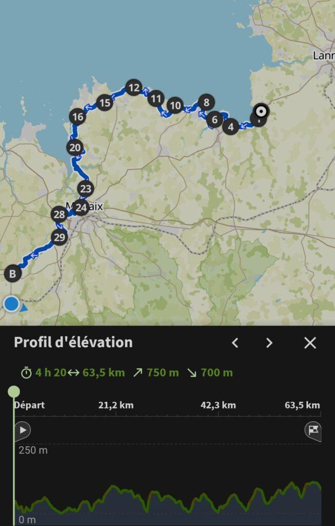 Mon itinéraire de cette huitième et dernière journée de voyage à vélo itinérant sur la Vélomaritime en Bretagne