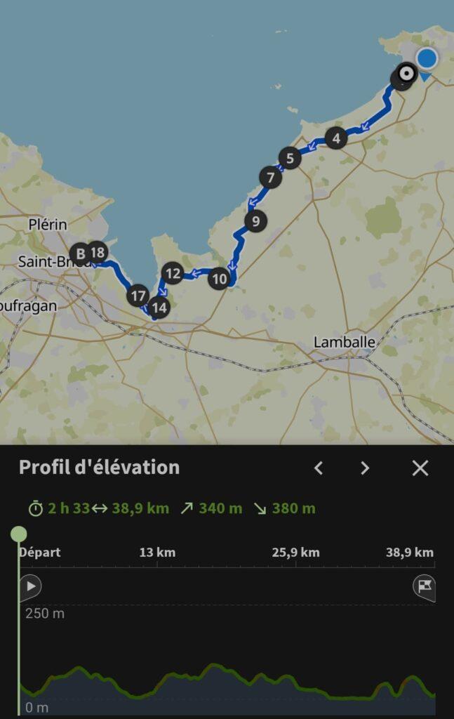 Mon itinéraire de ce troisième jour de voyage itinérant à vélo en Bretagne