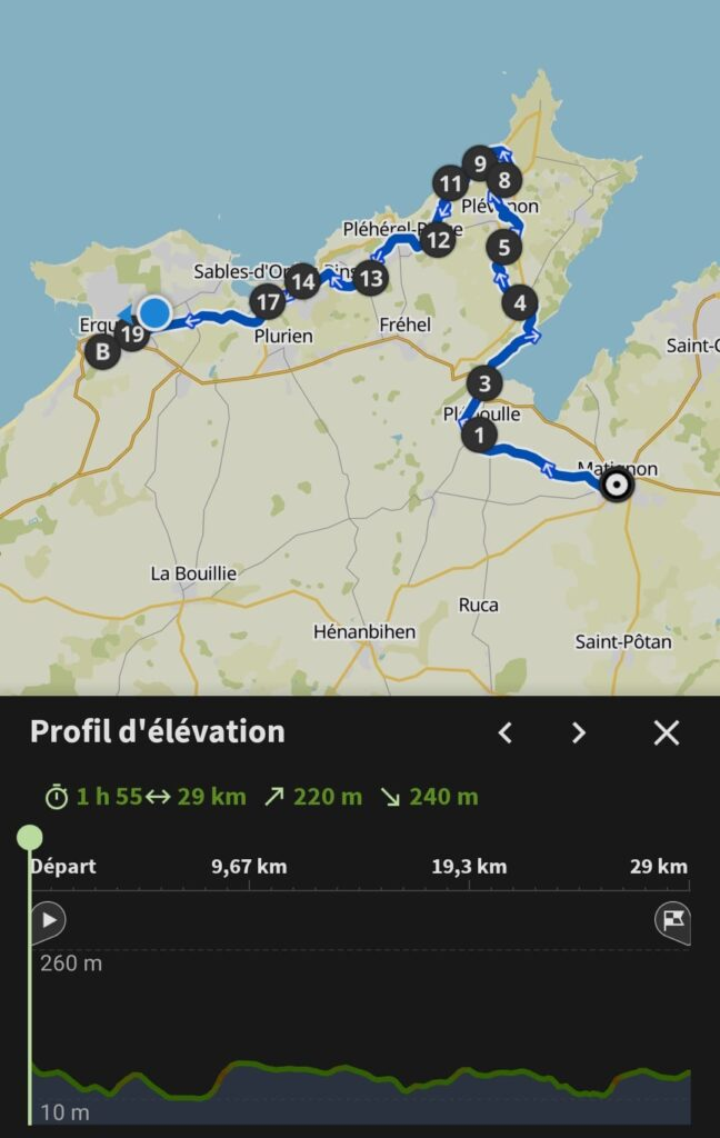 Mon itinéraire de cette seconde journée de voyage à vélo sur la Vélomaritime en Bretagne